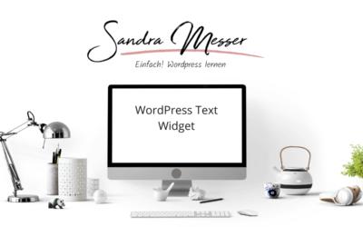WordPess Tutorial: Text Widget für die Sidebar