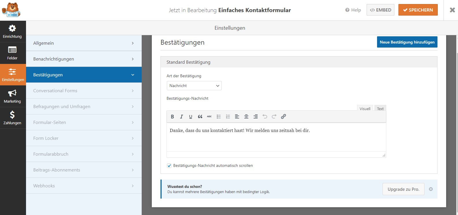 WordPress Kontaktformular WP Forms Benachrichtigung