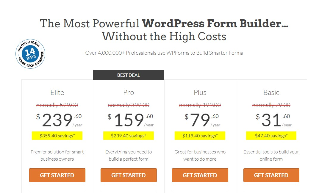 WordPress Kontaktformulare WP Forms Preise