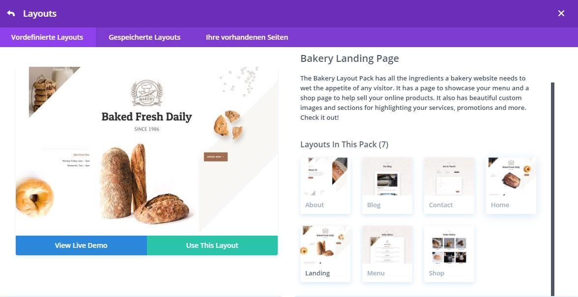 Divi Website erstellen - Bakery Layout Overview