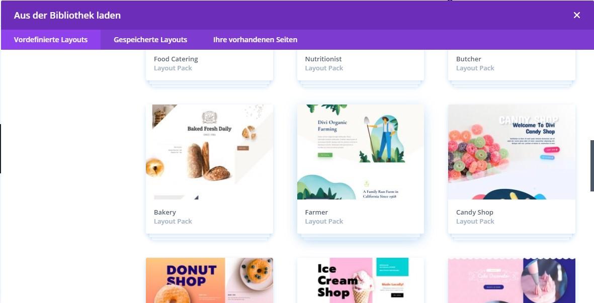 Divi Website erstellen - Bakery Layout