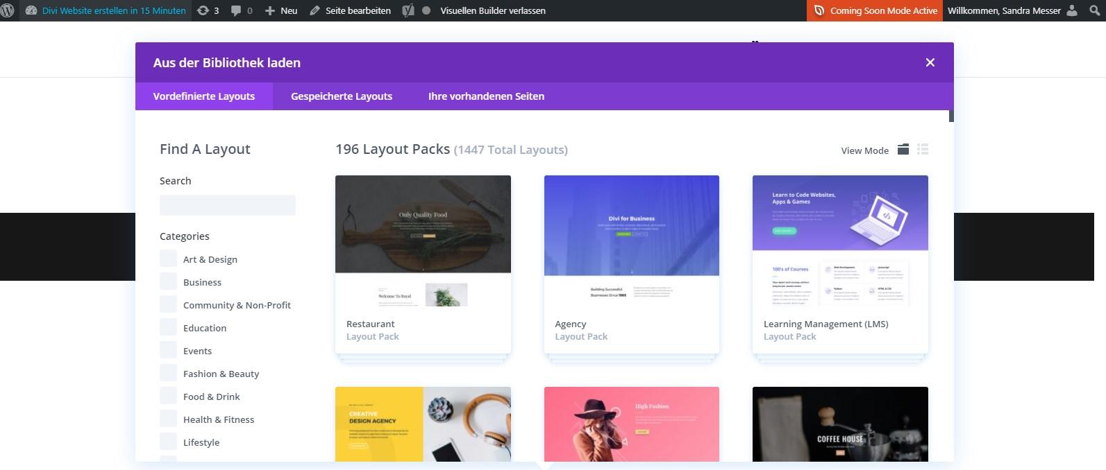 Divi Website erstellen - Divi Bibliothek