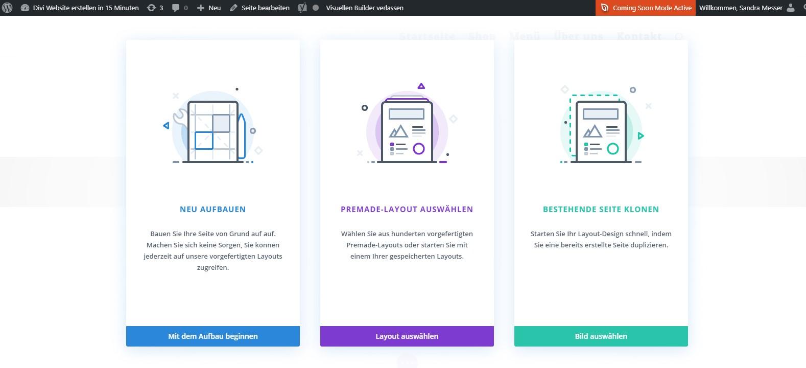 Divi Website erstellen - Premade Layout auswaehlen